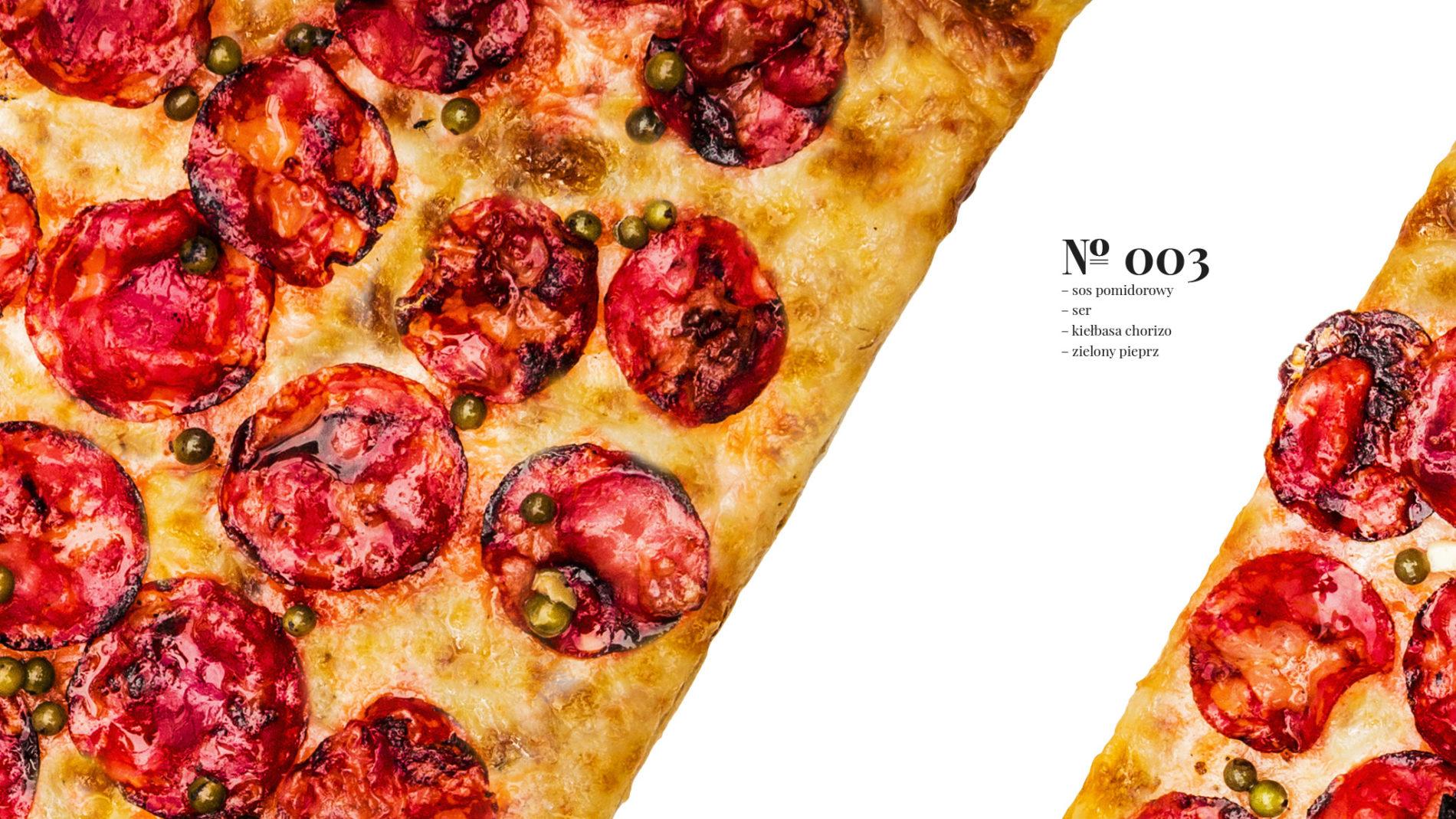 Pizza 60 freebee system – sos pomidorowy – ser – kiełbasa chorizo – zielony pieprz