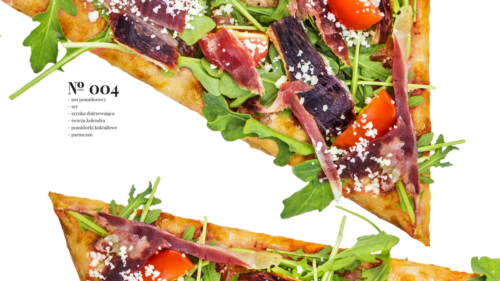 Pizza 60 freebee system – sos pomidorowy – ser – szynka dojrzewająca – świeża kolendra – pomidorki koktajlowe – parmezan