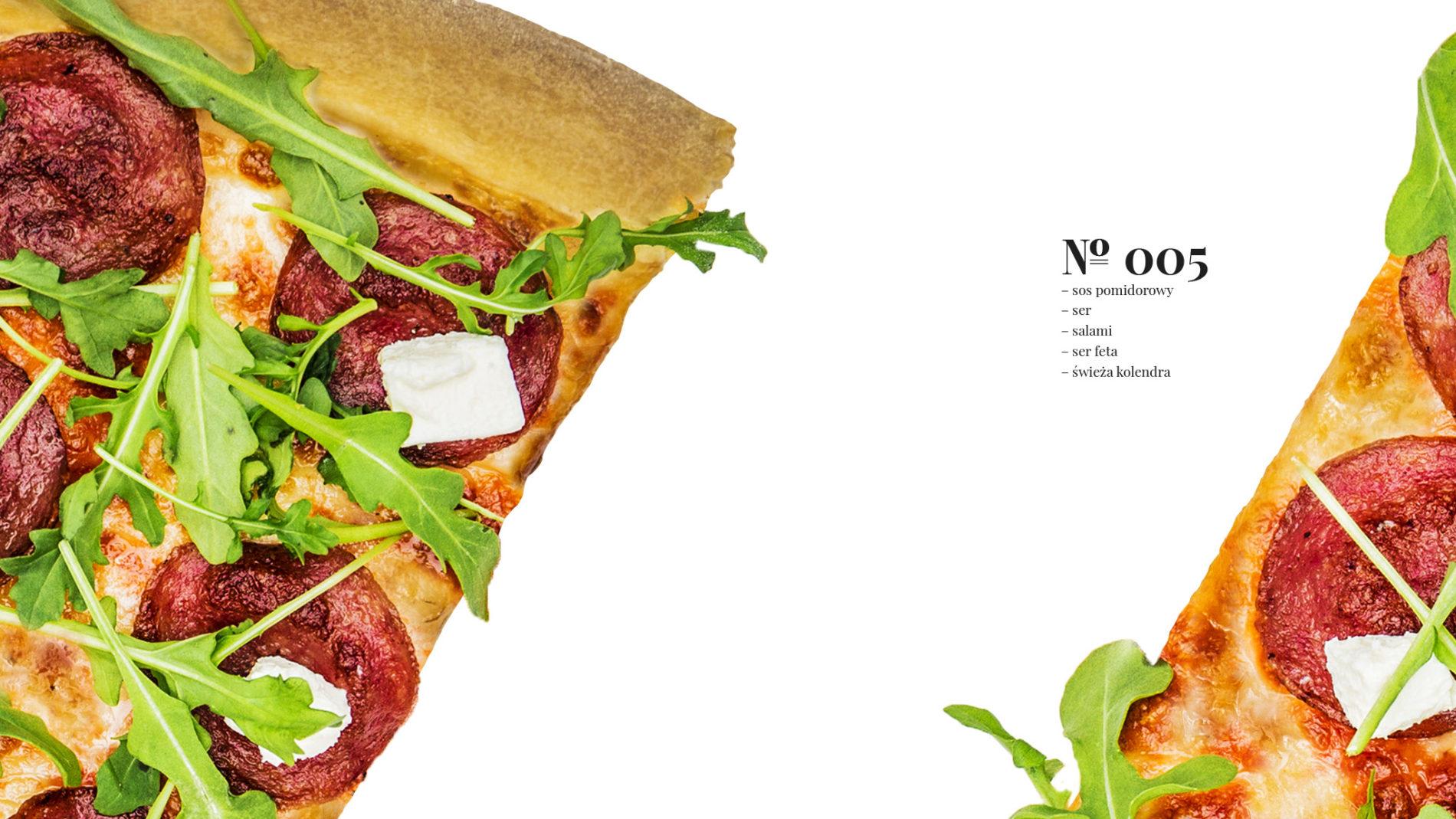 Pizza 60 freebee system – sos pomidorowy – ser – salami – ser feta – świeża kolendra